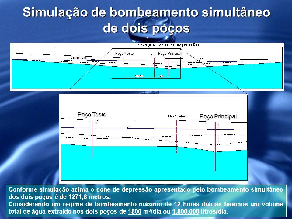 Simulação de bombeamento simultâneo de dois poços