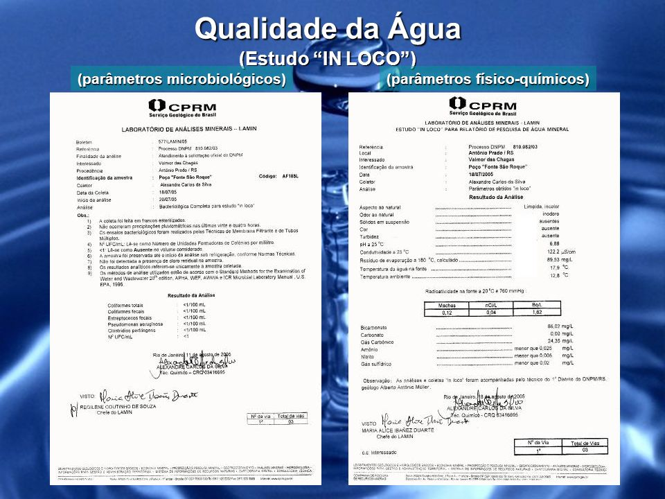 Qualidade da Água (Estudo IN LOCO )