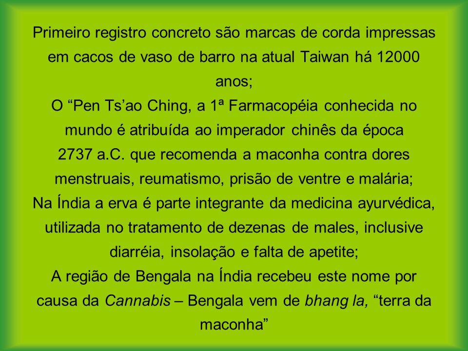 Primeiro registro concreto são marcas de corda impressas em cacos de vaso de barro na atual Taiwan há 12000 anos; O Pen Ts'ao Ching, a 1ª Farmacopéia conhecida no mundo é atribuída ao imperador chinês da época 2737 a.C.