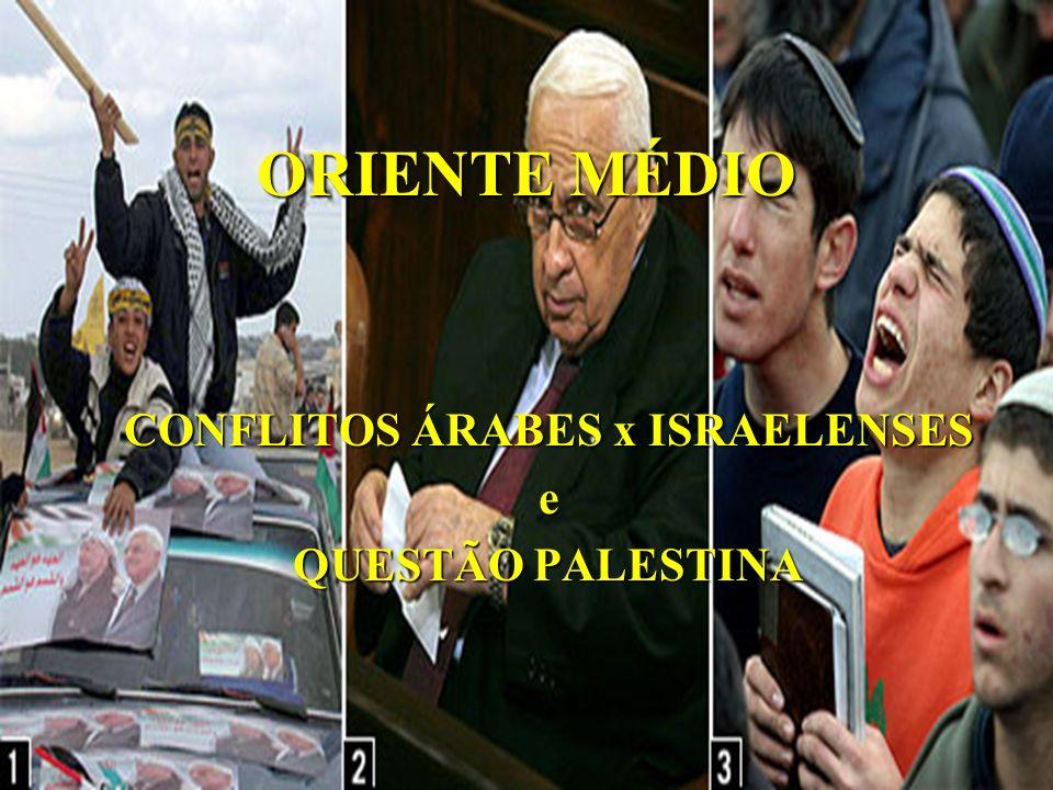 CONFLITOS ÁRABES x ISRAELENSES e QUESTÃO PALESTINA
