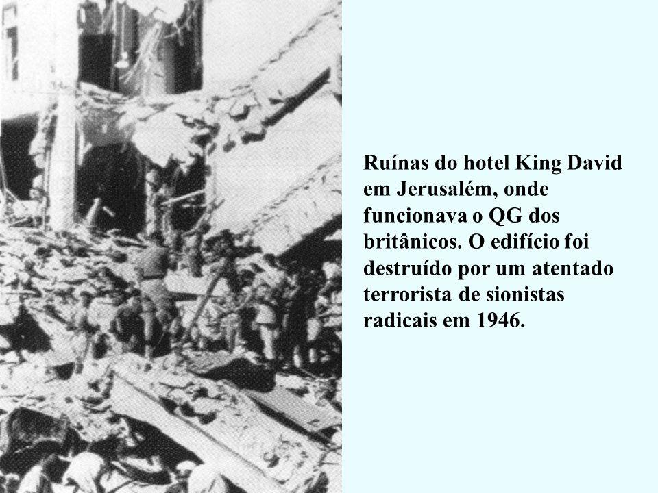 Ruínas do hotel King David em Jerusalém, onde funcionava o QG dos britânicos.