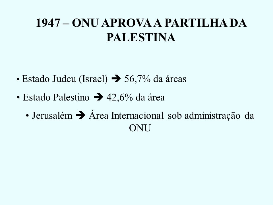 1947 – ONU APROVA A PARTILHA DA PALESTINA