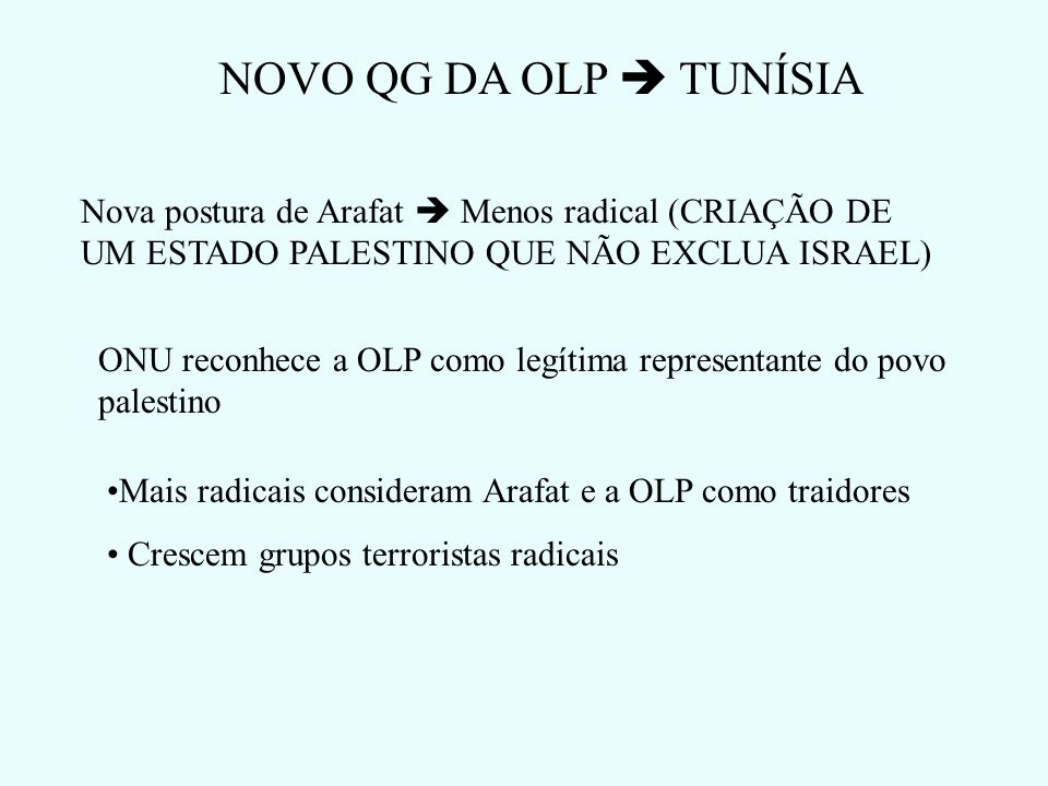 NOVO QG DA OLP  TUNÍSIANova postura de Arafat  Menos radical (CRIAÇÃO DE UM ESTADO PALESTINO QUE NÃO EXCLUA ISRAEL)