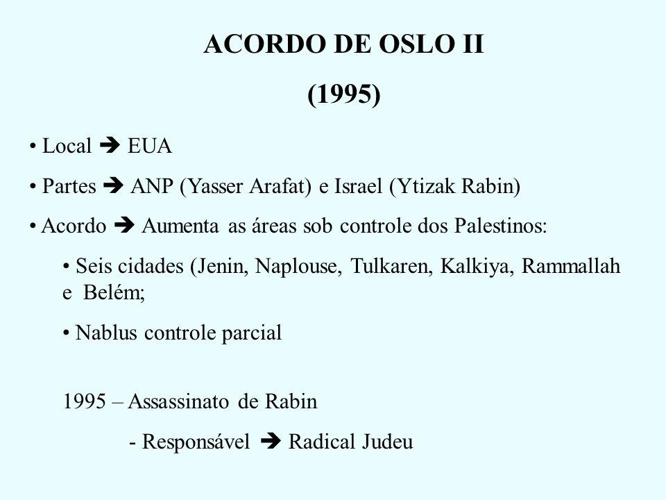 ACORDO DE OSLO II (1995) Local  EUA