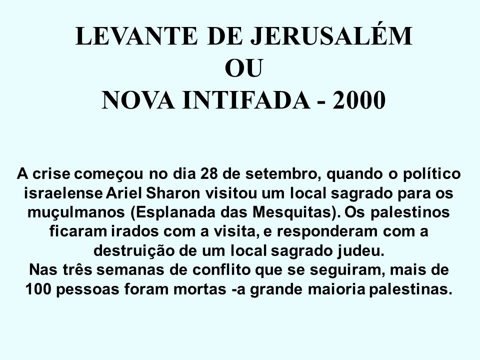 LEVANTE DE JERUSALÉM OU NOVA INTIFADA - 2000