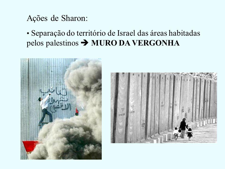 Ações de Sharon:Separação do território de Israel das áreas habitadas pelos palestinos  MURO DA VERGONHA.