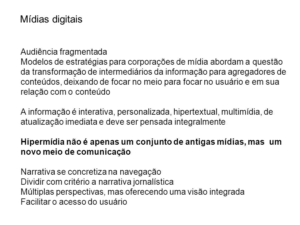 Mídias digitais Audiência fragmentada