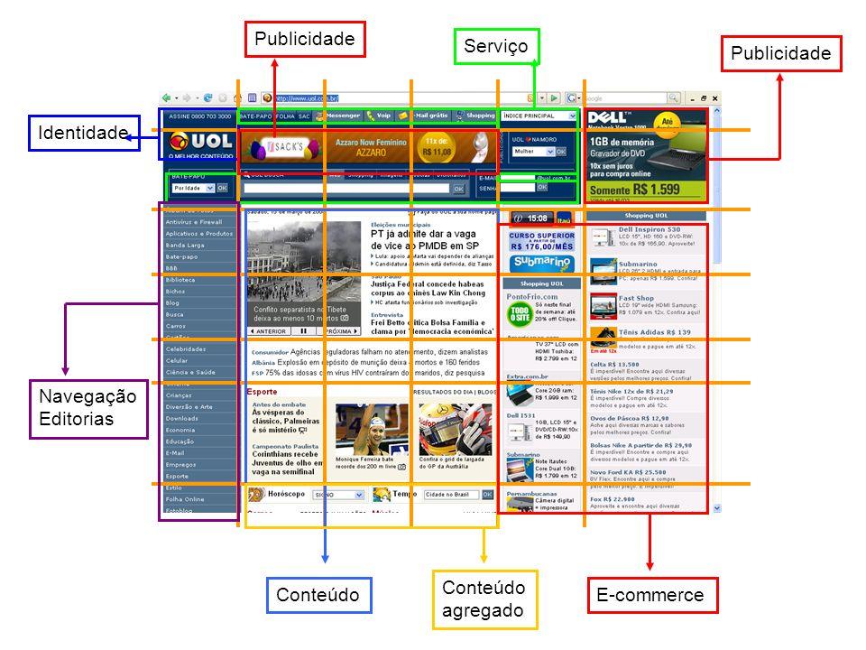 Publicidade Serviço Identidade Navegação Editorias Conteúdo E-commerce Conteúdo agregado