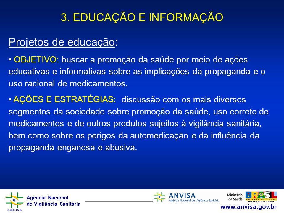 3. EDUCAÇÃO E INFORMAÇÃO Projetos de educação: