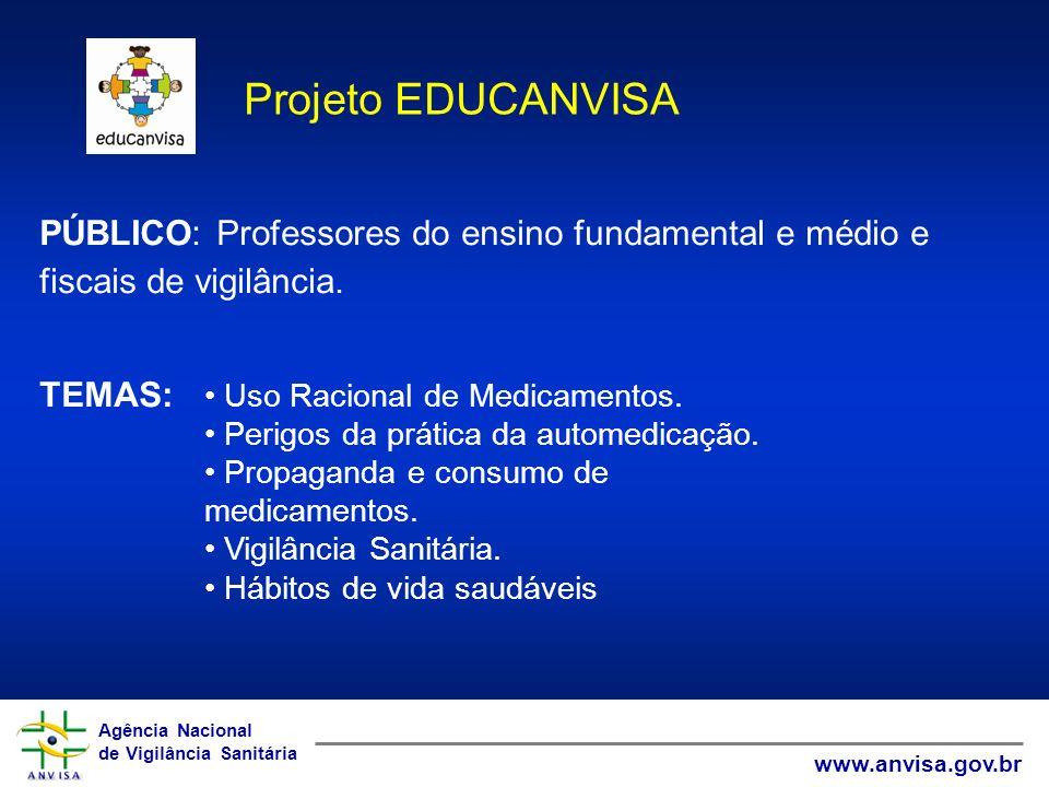 Projeto EDUCANVISA PÚBLICO: Professores do ensino fundamental e médio e fiscais de vigilância. TEMAS: