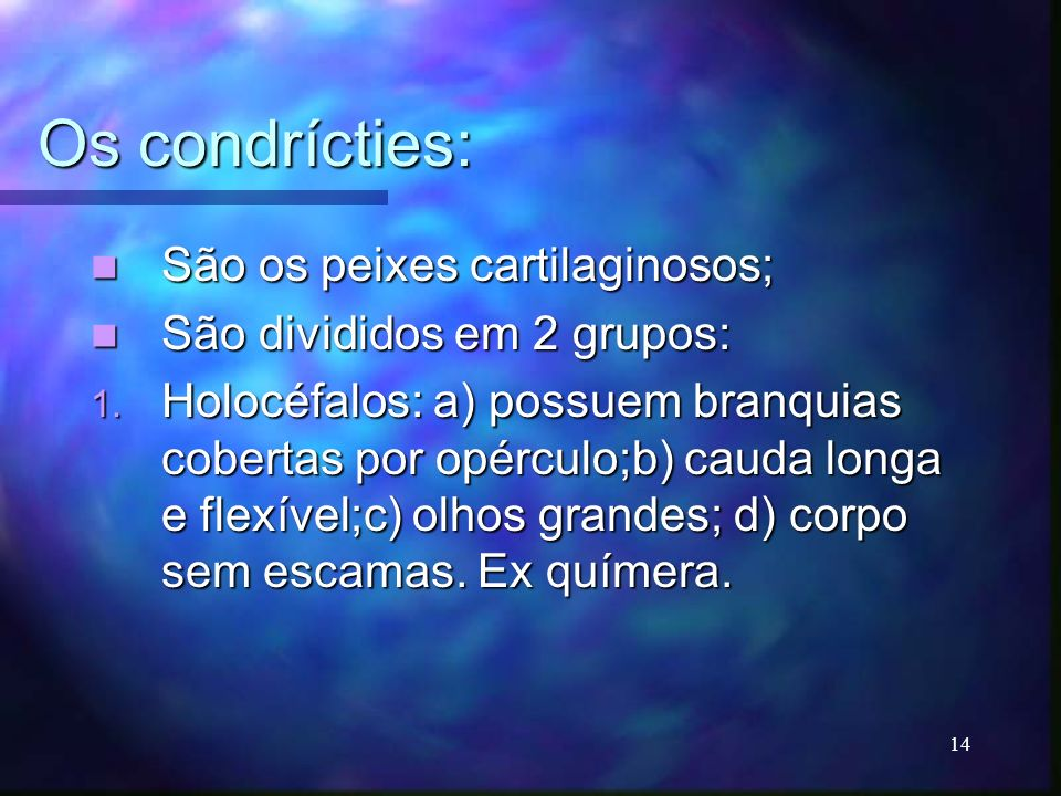 Os condrícties: São os peixes cartilaginosos;