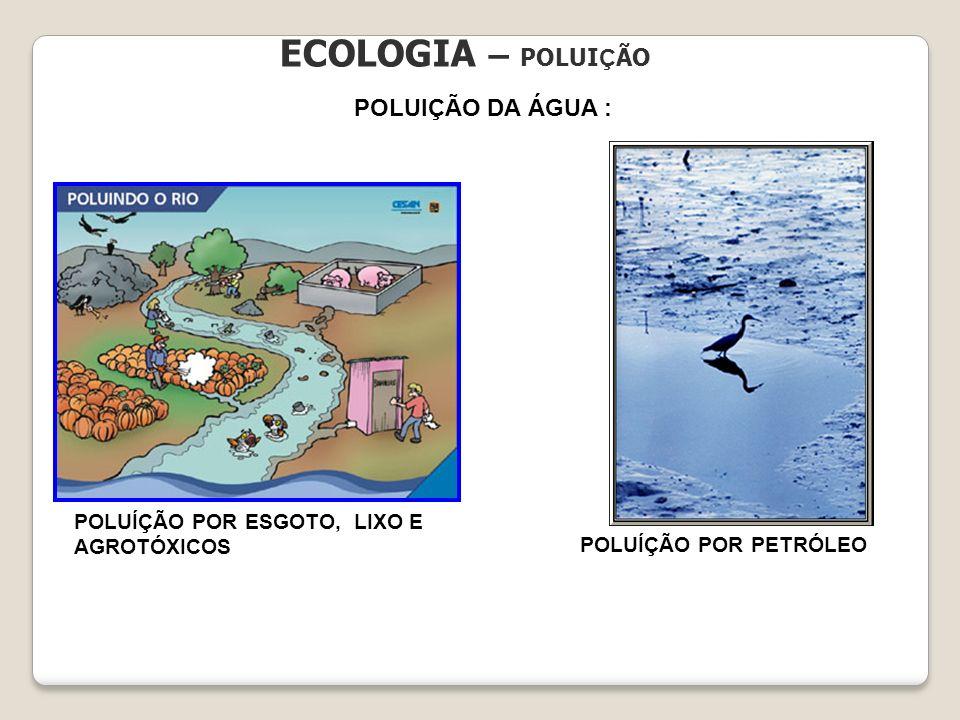 ECOLOGIA – POLUIÇÃO POLUIÇÃO DA ÁGUA :