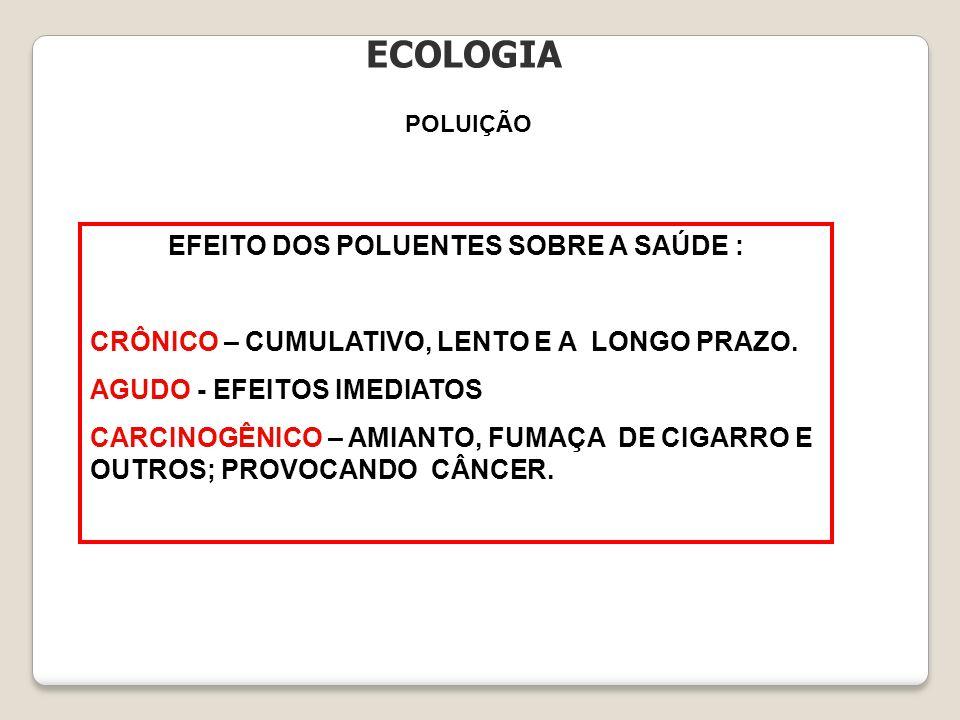 EFEITO DOS POLUENTES SOBRE A SAÚDE :