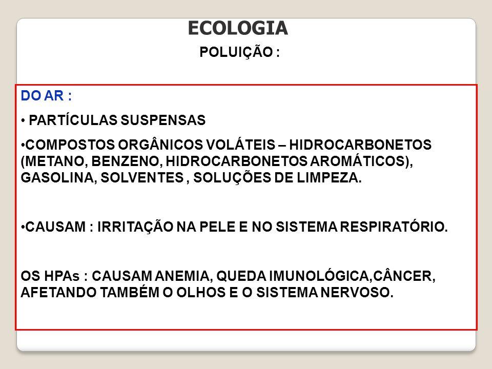 ECOLOGIA POLUIÇÃO : DO AR : PARTÍCULAS SUSPENSAS