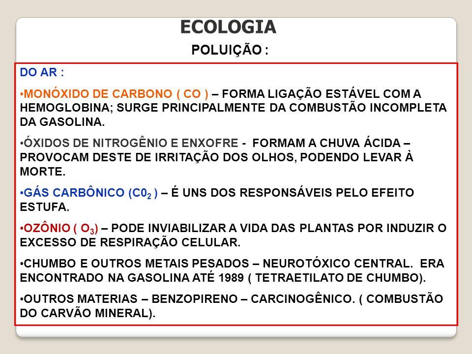ECOLOGIA POLUIÇÃO : DO AR :