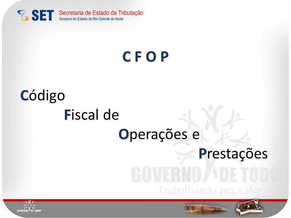 C F O P Código Fiscal de Operações e Prestações