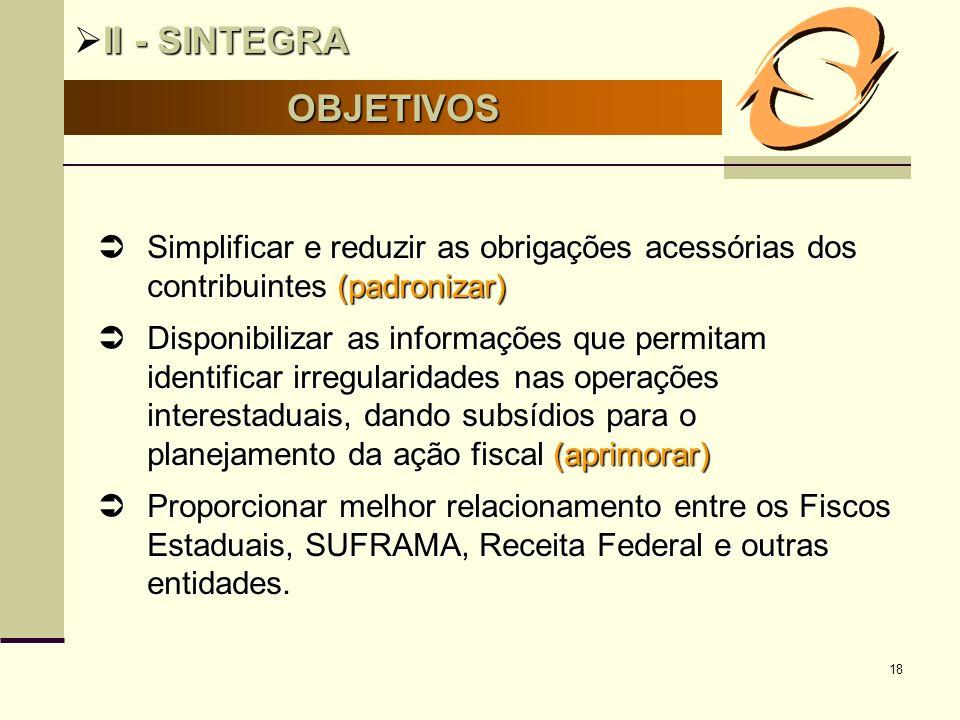 II - SINTEGRA OBJETIVOS