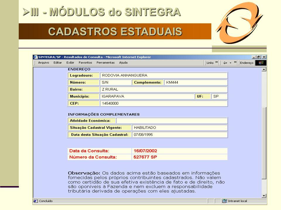 III - MÓDULOS do SINTEGRA