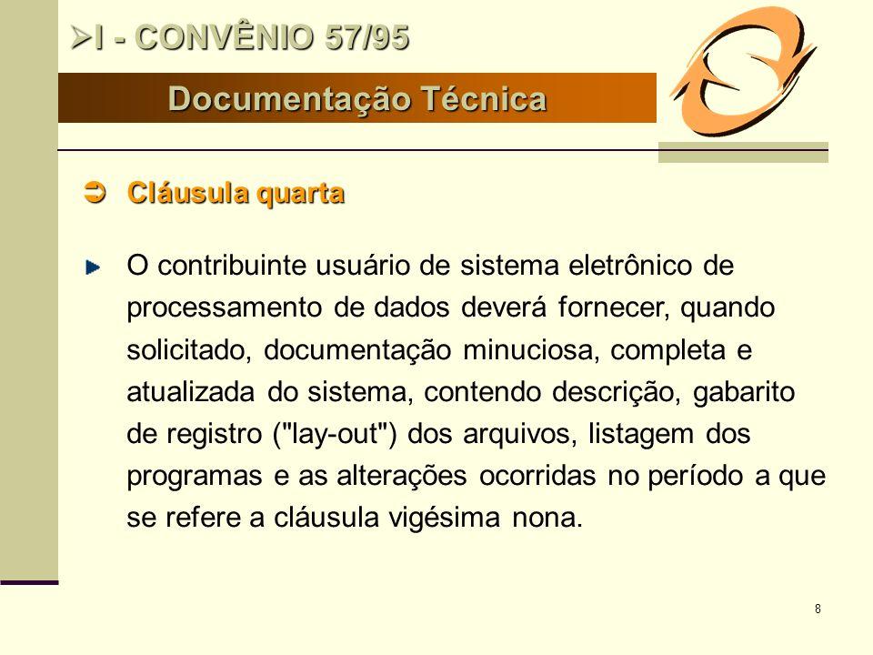 I - CONVÊNIO 57/95 Documentação Técnica Cláusula quarta