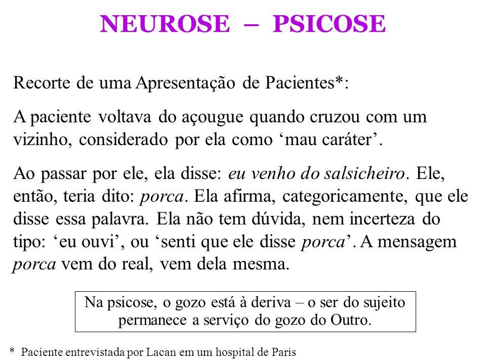 NEUROSE – PSICOSE Recorte de uma Apresentação de Pacientes*: