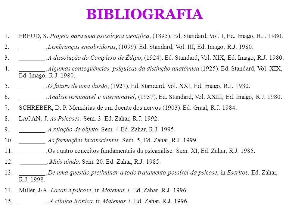 BIBLIOGRAFIA FREUD, S. Projeto para uma psicologia científica, (1895). Ed. Standard, Vol. I, Ed. Imago, R.J. 1980.