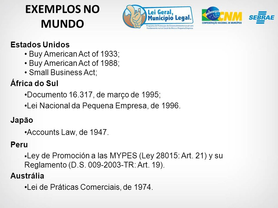EXEMPLOS NO MUNDO Estados Unidos Buy American Act of 1933;