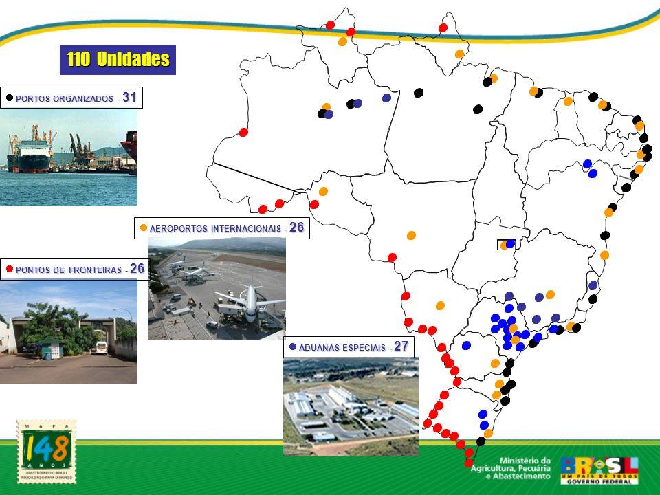 110 Unidades PORTOS ORGANIZADOS - 31 AEROPORTOS INTERNACIONAIS - 26