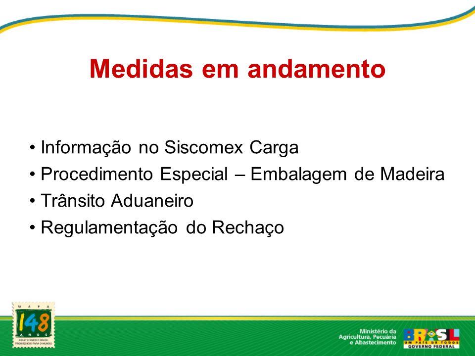 Medidas em andamento Informação no Siscomex Carga