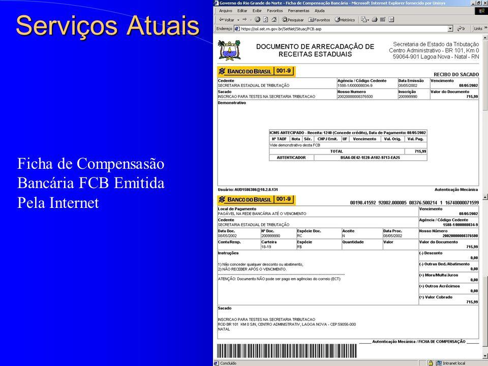 Serviços Atuais Ficha de Compensasão Bancária FCB Emitida Pela Internet