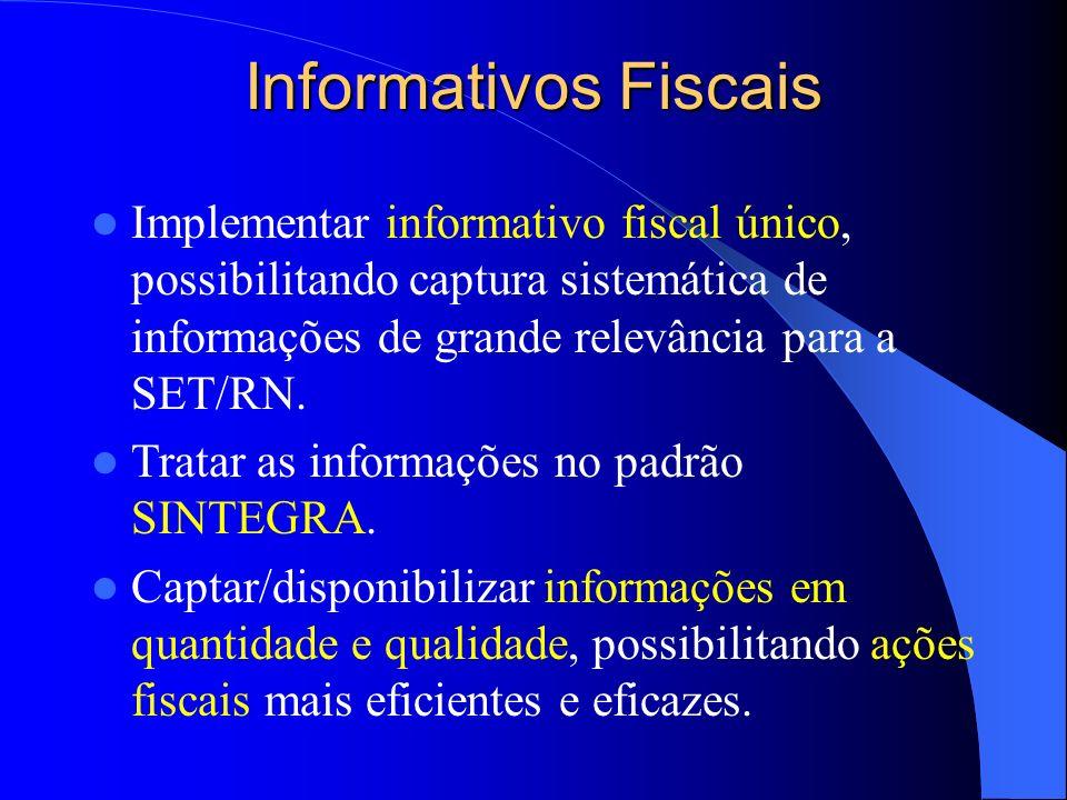 Informativos Fiscais Implementar informativo fiscal único, possibilitando captura sistemática de informações de grande relevância para a SET/RN.