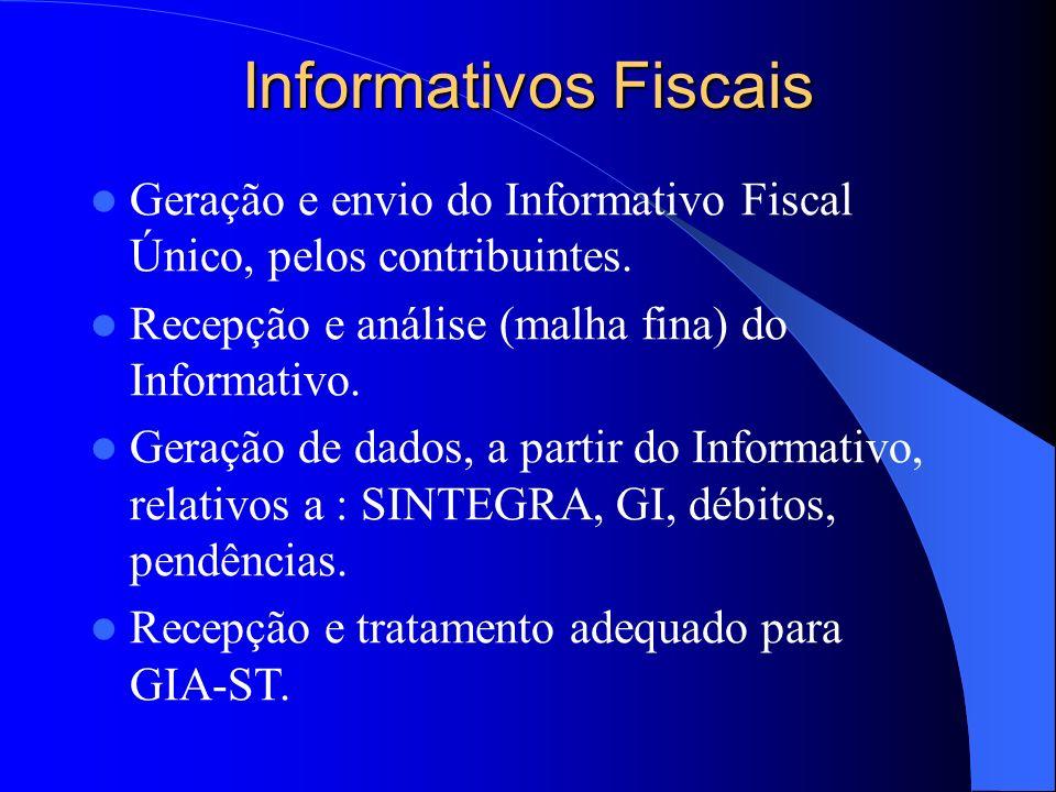 Informativos Fiscais Geração e envio do Informativo Fiscal Único, pelos contribuintes. Recepção e análise (malha fina) do Informativo.
