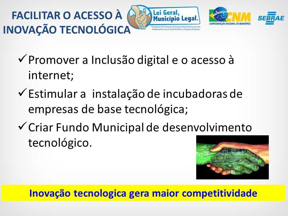 Promover a Inclusão digital e o acesso à internet;