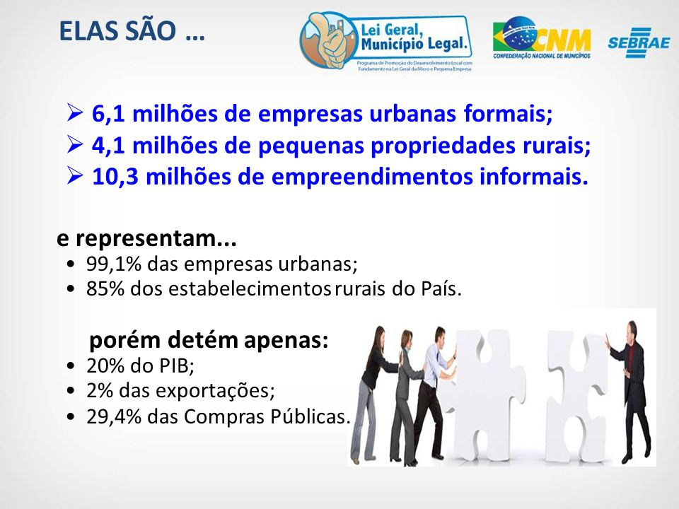ELAS SÃO … 6,1 milhões de empresas urbanas formais;