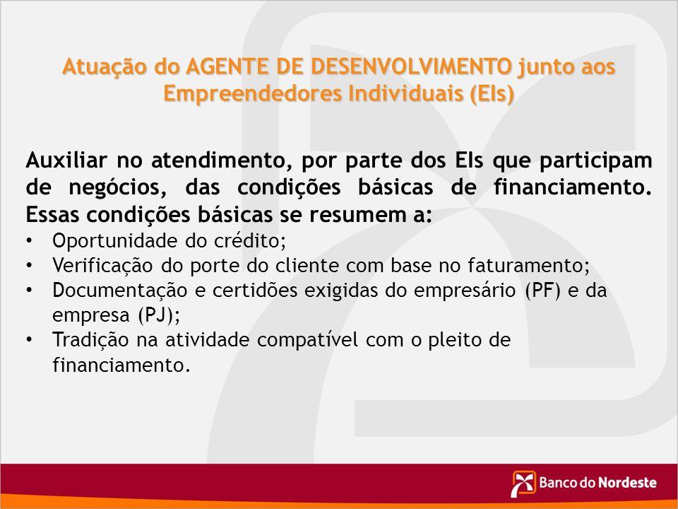 Atuação do AGENTE DE DESENVOLVIMENTO junto aos Empreendedores Individuais (EIs)
