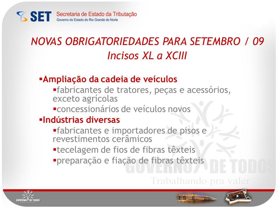 NOVAS OBRIGATORIEDADES PARA SETEMBRO / 09