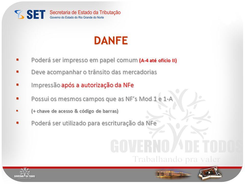 DANFE Poderá ser impresso em papel comum (A-4 até ofício II)