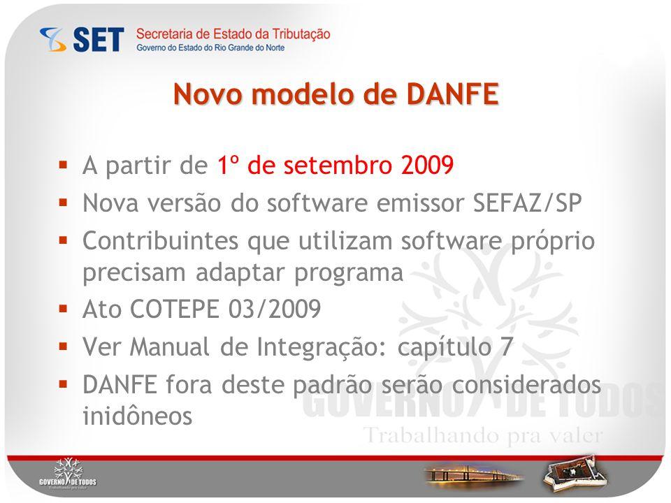 Novo modelo de DANFE A partir de 1º de setembro 2009