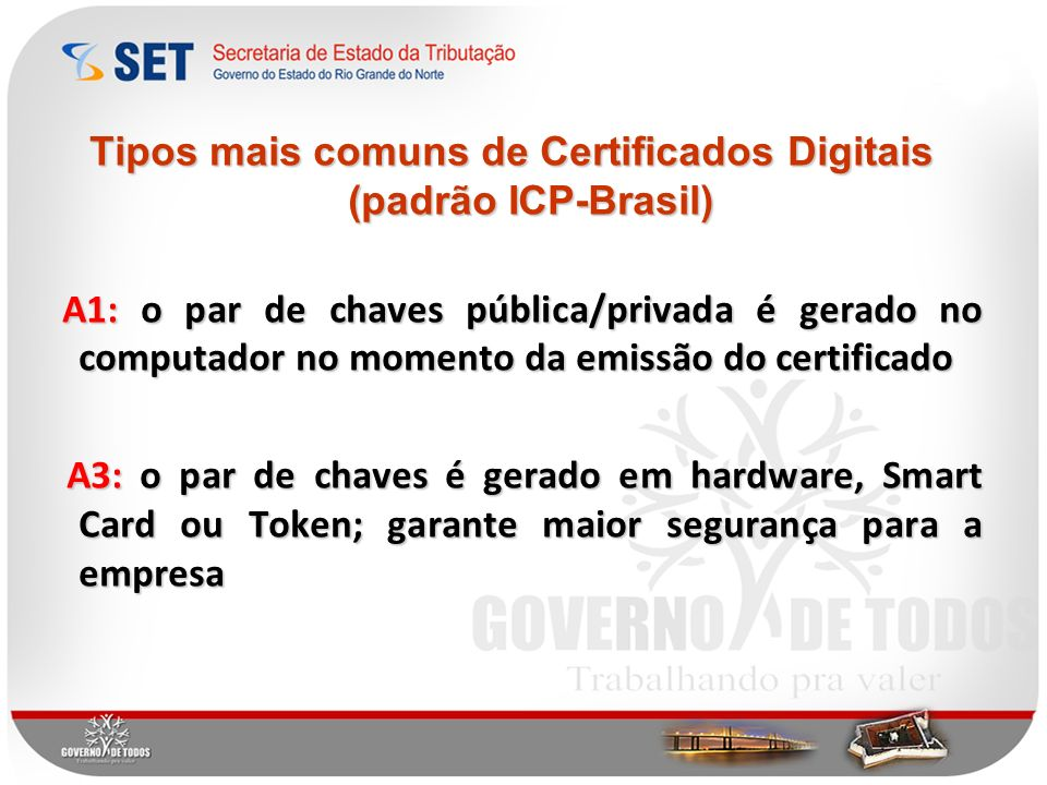 Tipos mais comuns de Certificados Digitais (padrão ICP-Brasil)
