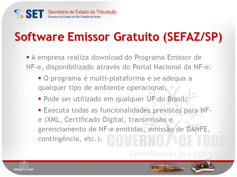 Software Emissor Gratuito (SEFAZ/SP)