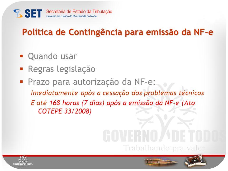 Política de Contingência para emissão da NF-e