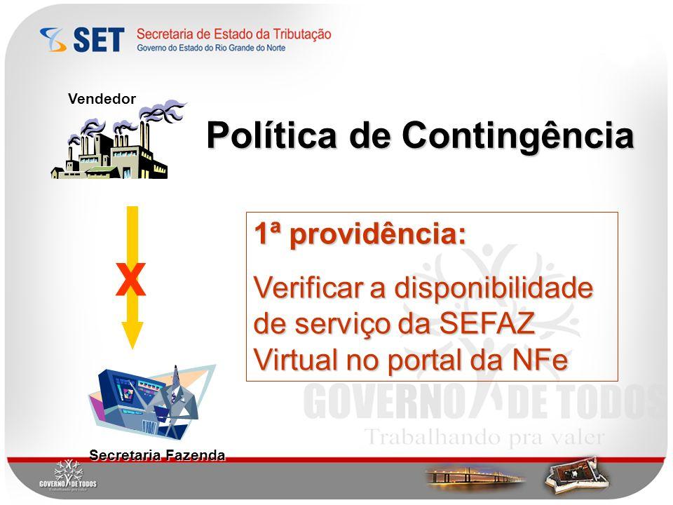 X Política de Contingência 1ª providência: