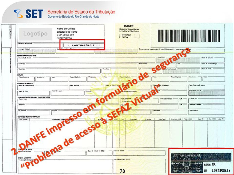 DANFE impresso em formulário de segurança