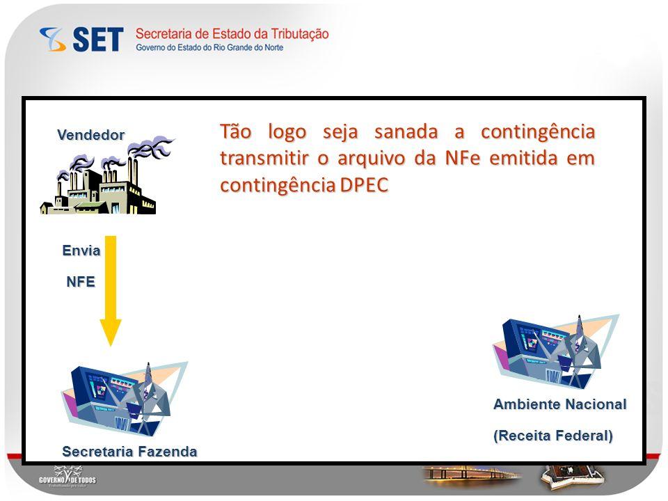 Tão logo seja sanada a contingência transmitir o arquivo da NFe emitida em contingência DPEC