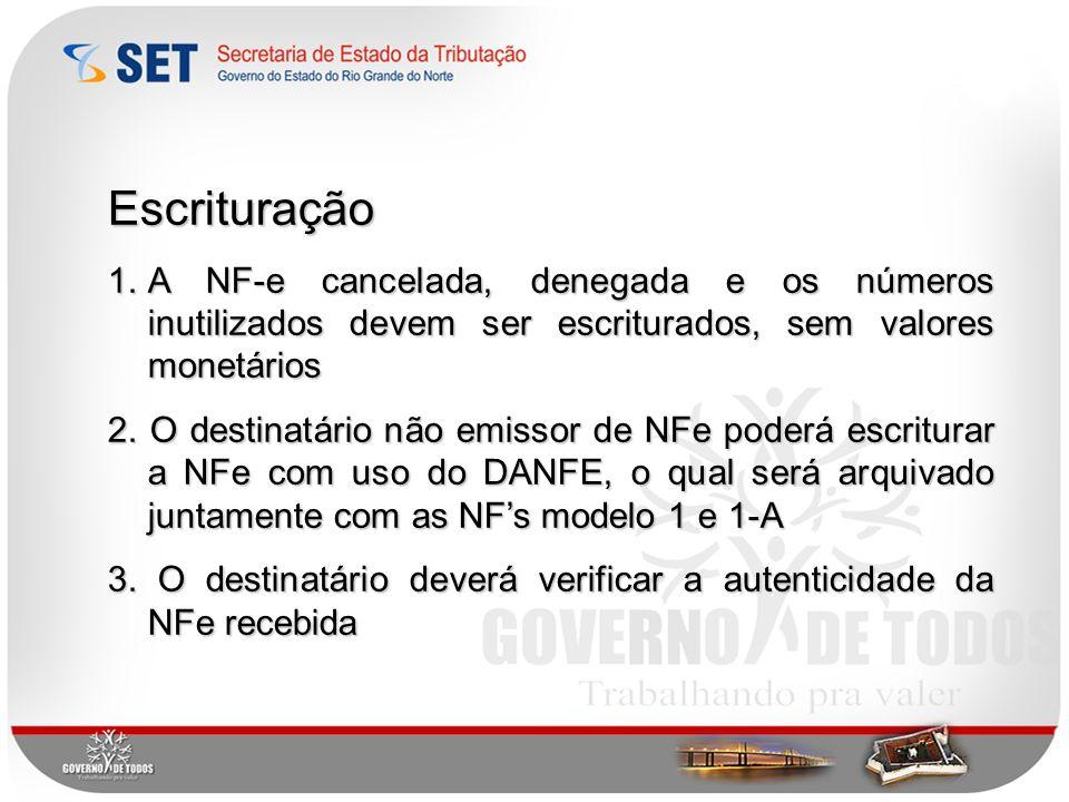 Escrituração A NF-e cancelada, denegada e os números inutilizados devem ser escriturados, sem valores monetários.
