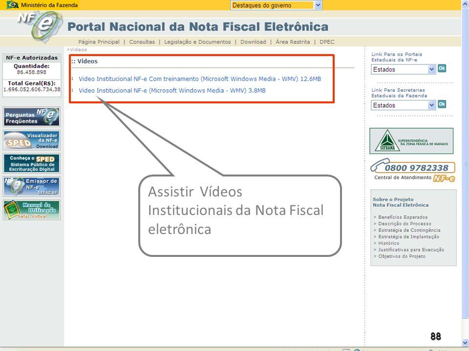 Assistir Vídeos Institucionais da Nota Fiscal eletrônica