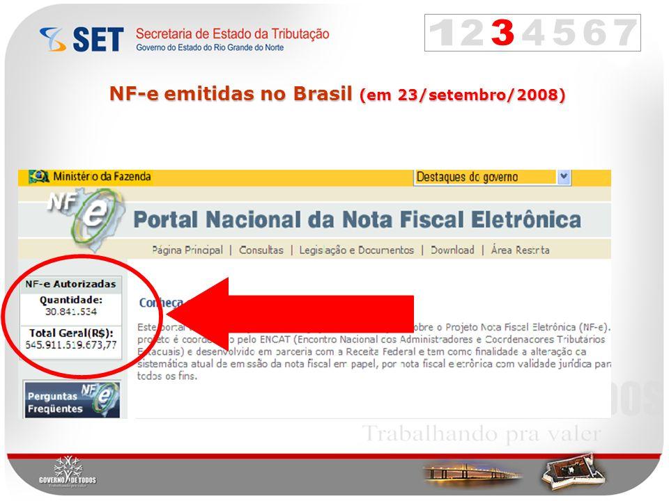 NF-e emitidas no Brasil (em 23/setembro/2008)
