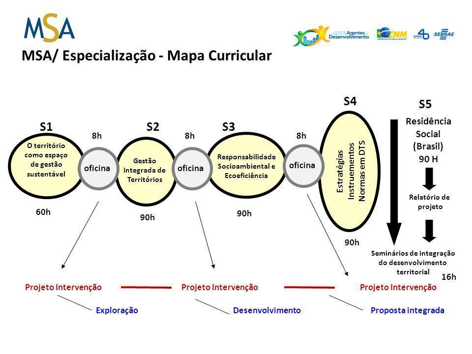 MSA/ Especialização - Mapa Curricular