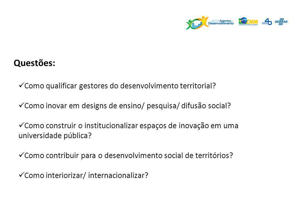 Questões: Como qualificar gestores do desenvolvimento territorial