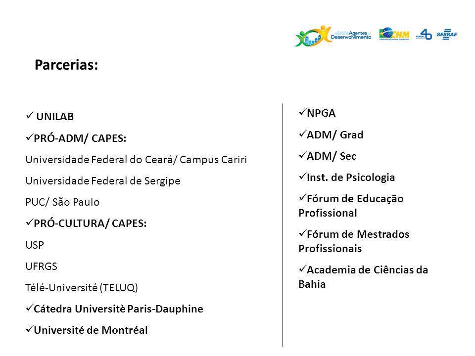 Parcerias: NPGA ADM/ Grad ADM/ Sec Inst. de Psicologia