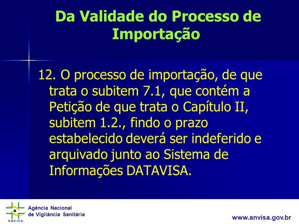 Da Validade do Processo de Importação